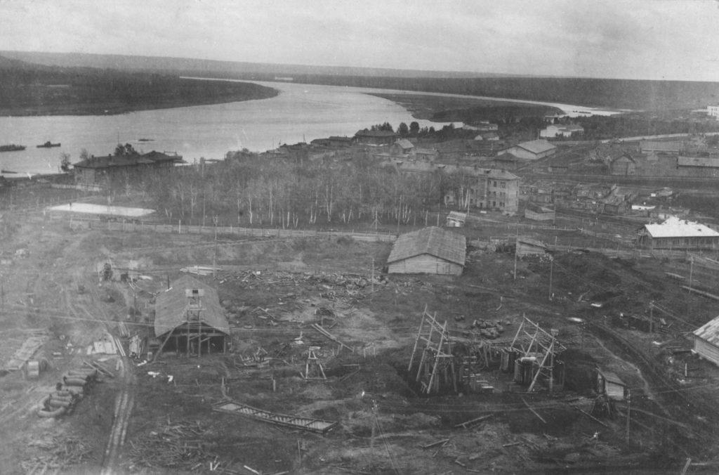 Вид на прибрежную часть левого берега р.Томь со стороны Кемеровской ГРЭС, 1932 г.
