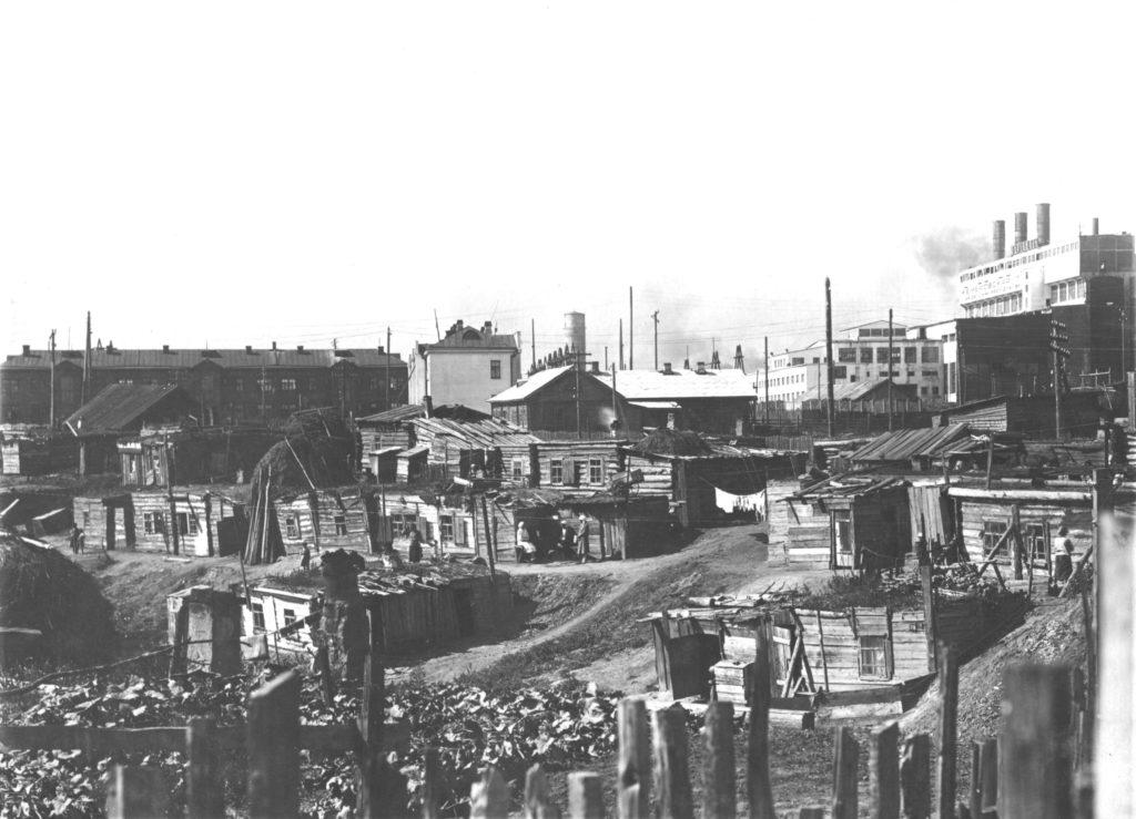 Поселок рабочих Кемрудника в Щетинкином Логу, середина 1930-х годов.