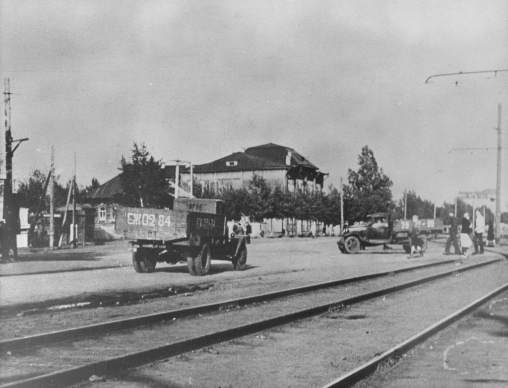 Улица Советская в районе будущей площади Советов г. Кемерово, 1952 г.