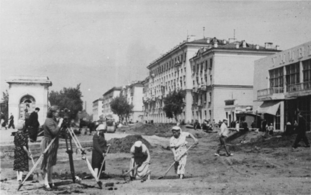 Благоустройство ул. Сталина (сейчас ул. Ноградская), 1950-е годы.
