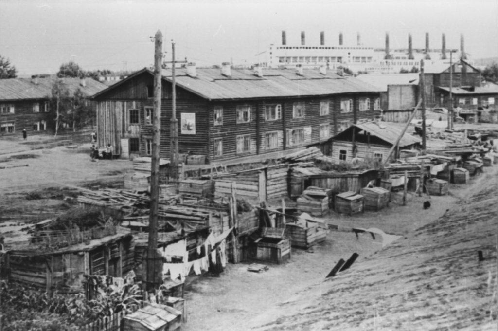Щетинкин лог. На заднем плане Кемеровская ТЭЦ, 1950-е годы.
