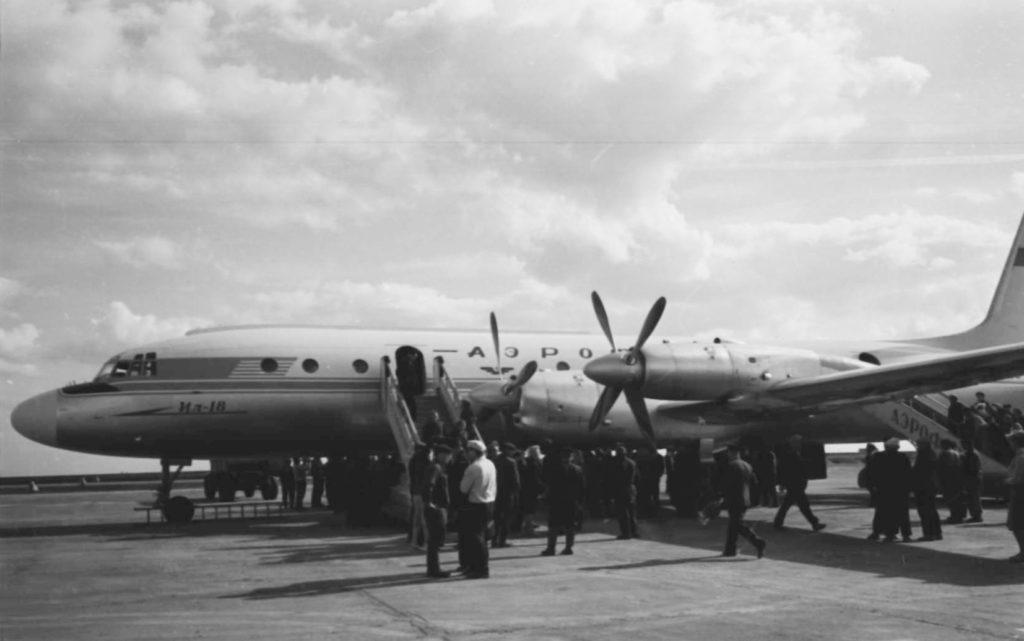 Открытие аэропорта в г. Кемерово. Первый самолёт ИЛ-18, прилетевший из Москвы, 05.09.1961 г.