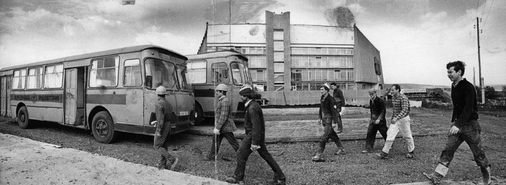 Строительство спорткомплекса Октябрьский, 1986 г.