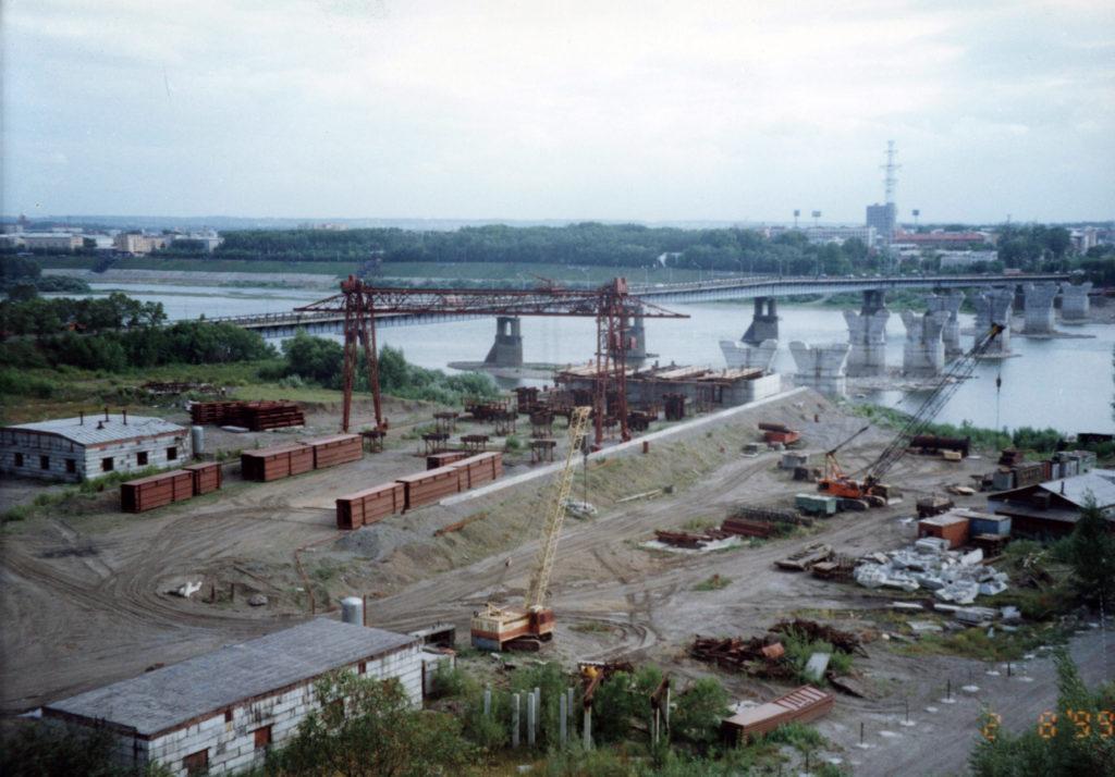 Вид на левый берег р.Томь. Панорама строительства нового коммунального моста, 1999 г.