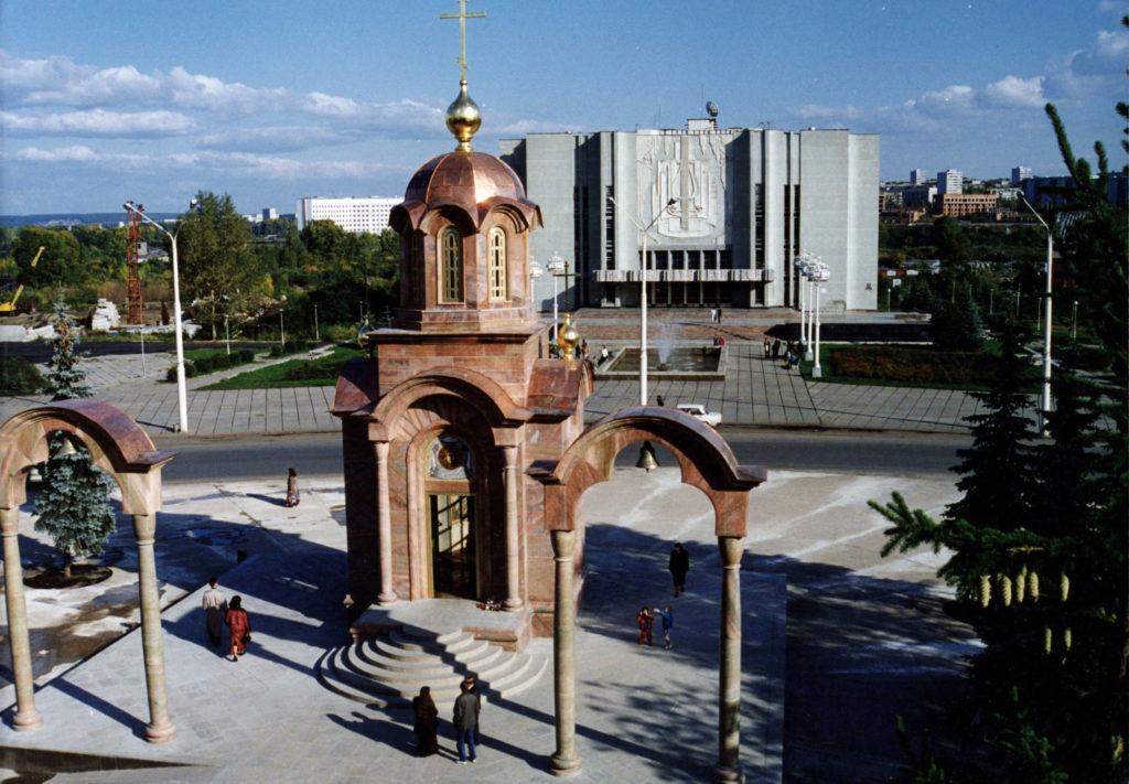 Часовня, воздвигнутая в память о погибших шахтерах, 1990-е годы.