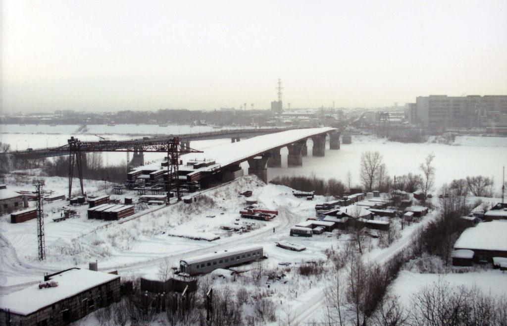 Панорама строительства моста через р. Томь, 2004 г.