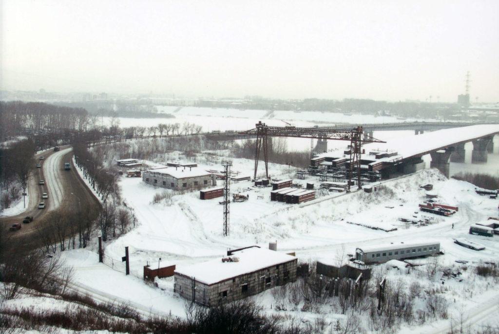 Панорама въезда с правого берега на мост через р. Томь, 2004 г.